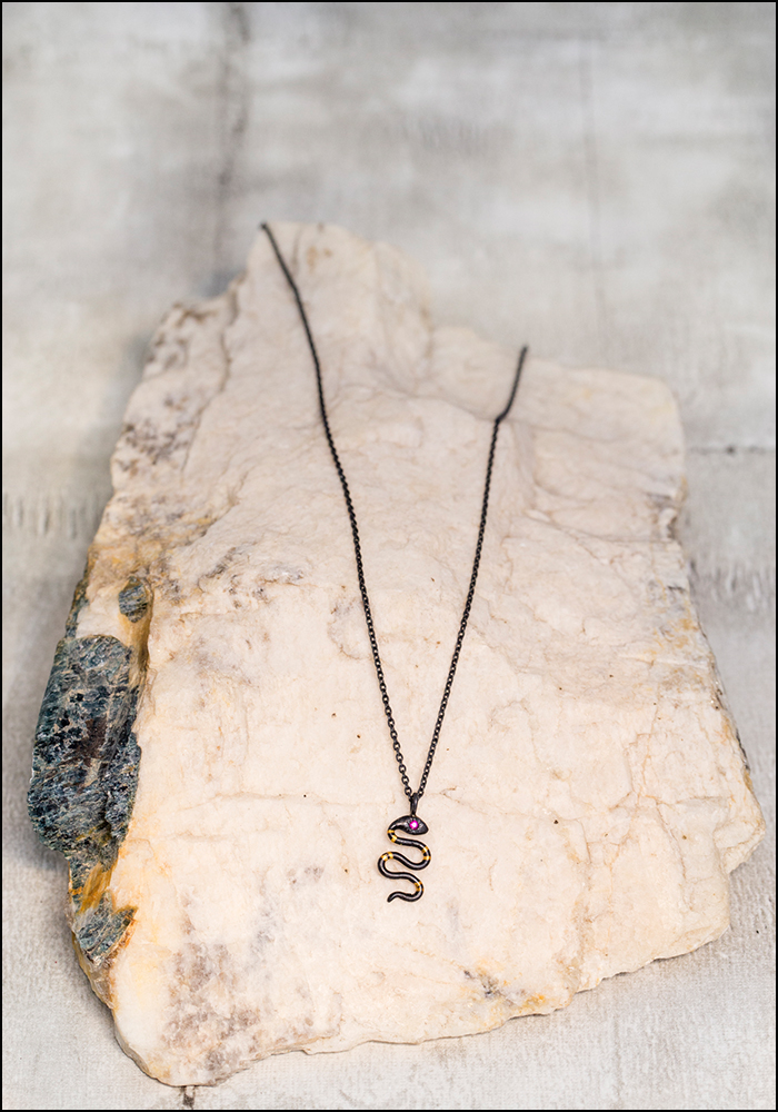 Acanthus Tiny Snake Pendant Necklace