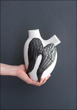 FOS Ceramiche Black Wings Porcelain Heart Vase