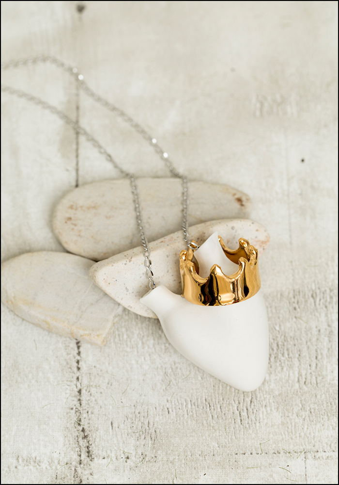 FOS Ceramiche Gold Crown Porcelain Heart Necklace