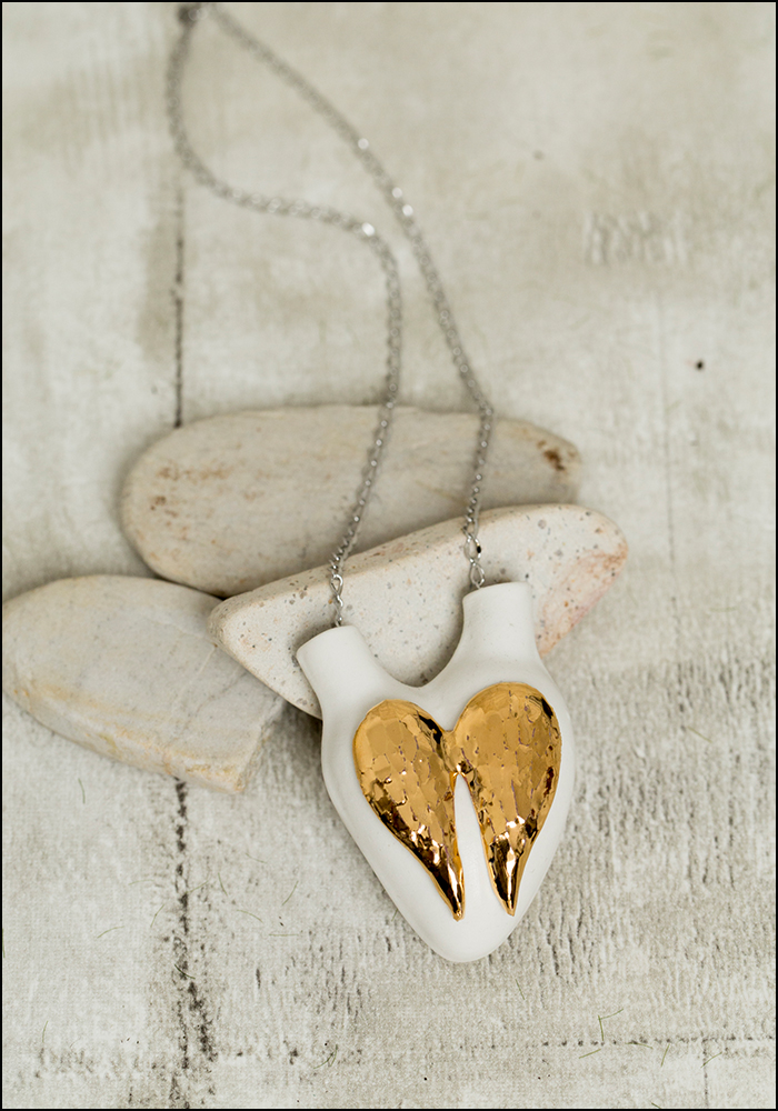 FOS Ceramiche Gold Wings Porcelain Heart Necklace