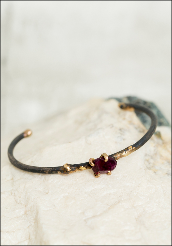 Variance Objects Garnet Cuff Bracelet