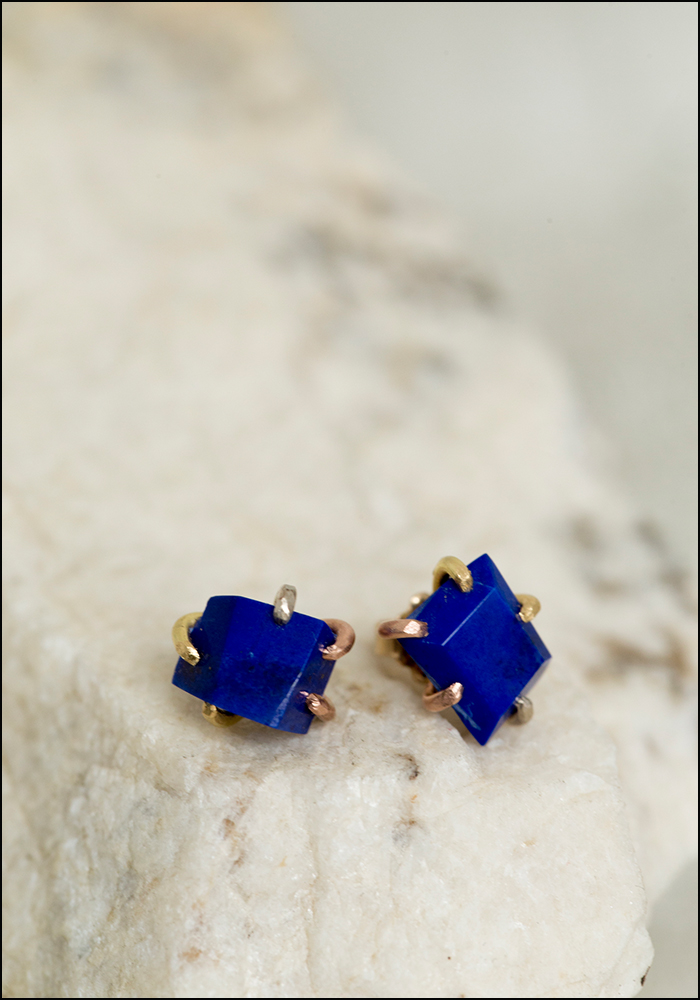 Variance Objects Large Lapis Stud Earrings