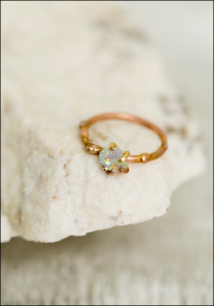 Variance Objects Delicate Opal and Rose Gold Ring