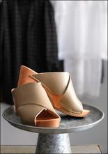 Bosabo Bosabo Criss Cross Khaki Leather Clog Mule
