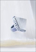 Adina Mills Clear Quartz Pyramid Ring
