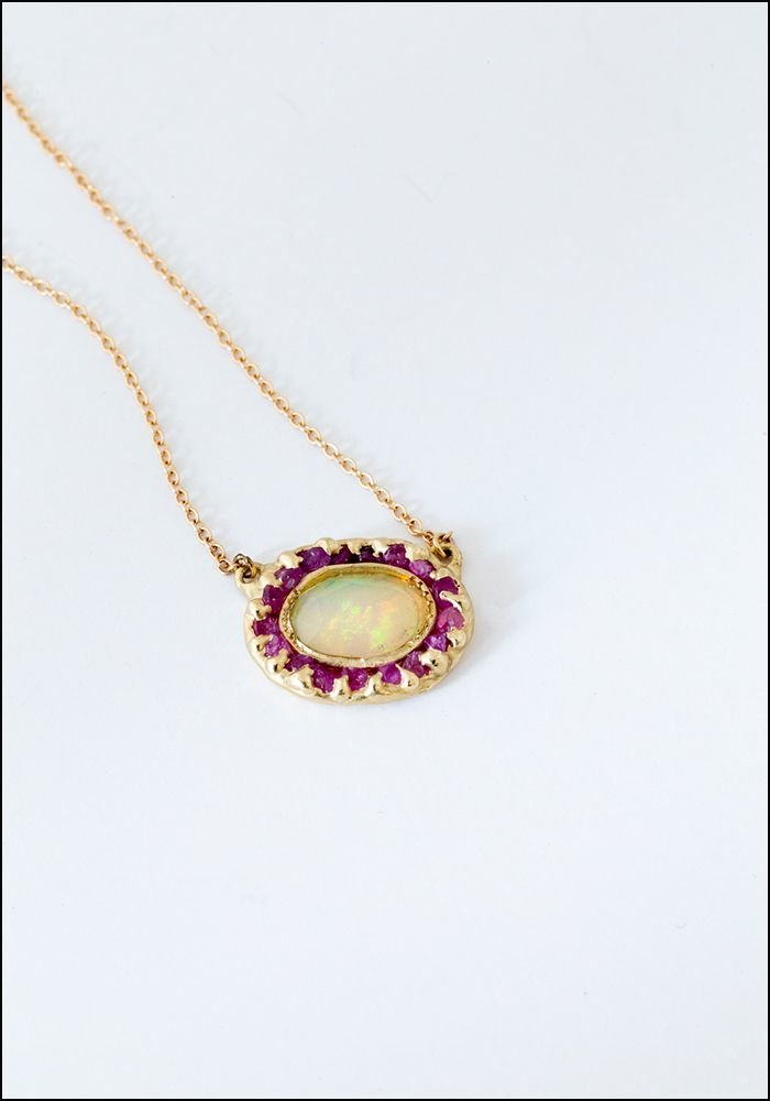 Emilie Shapiro Emilie Shapiro Opal and Pink Sapphire Pendant