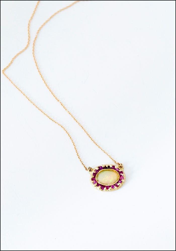 Emilie Shapiro Emilie Shapiro Opal and Pink Sapphire Pendant