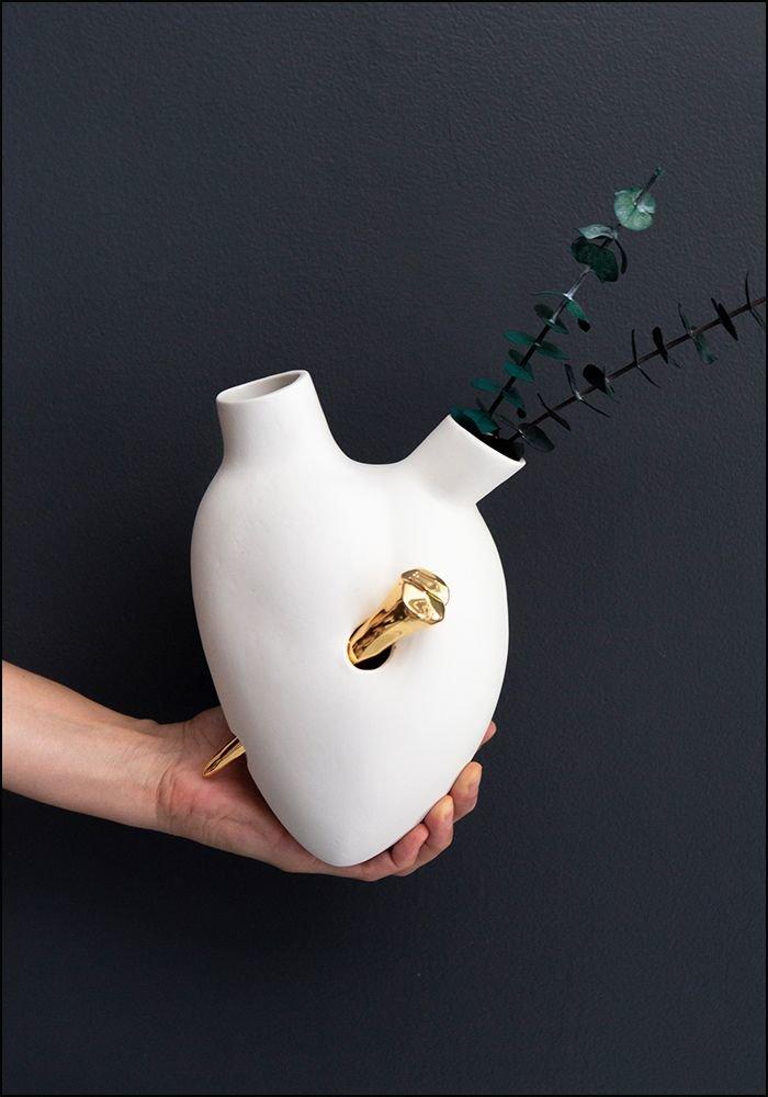 FOS Ceramiche Porcelain Golden Nail Heart Wall Vase