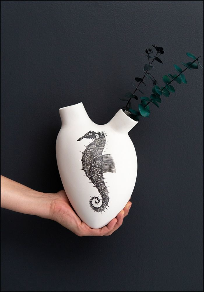 FOS Ceramiche Hand Painted Seahorse Porcelain Heart Wall Vase