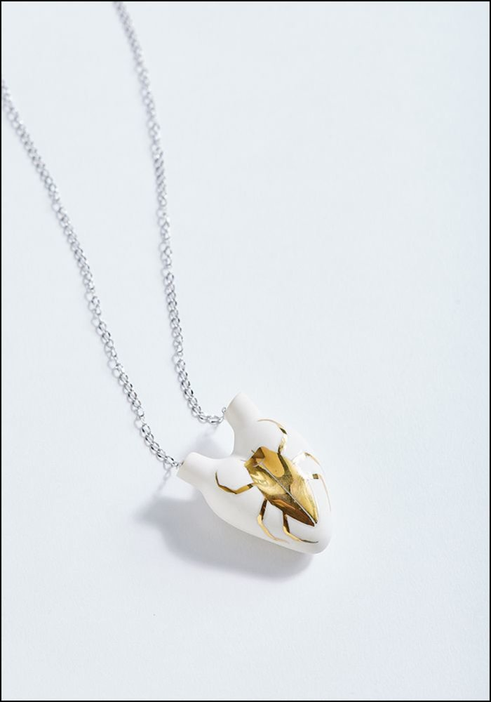 FOS Gold Beetle Porcelain Heart Necklace