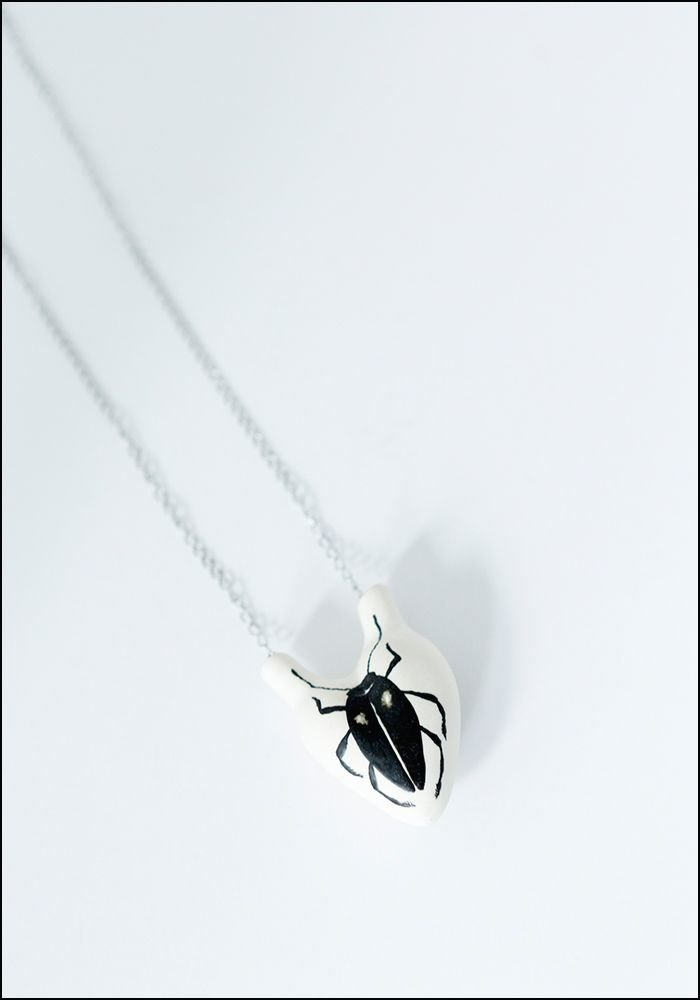 FOS Ceramiche Beetle Porcelain Heart Necklace