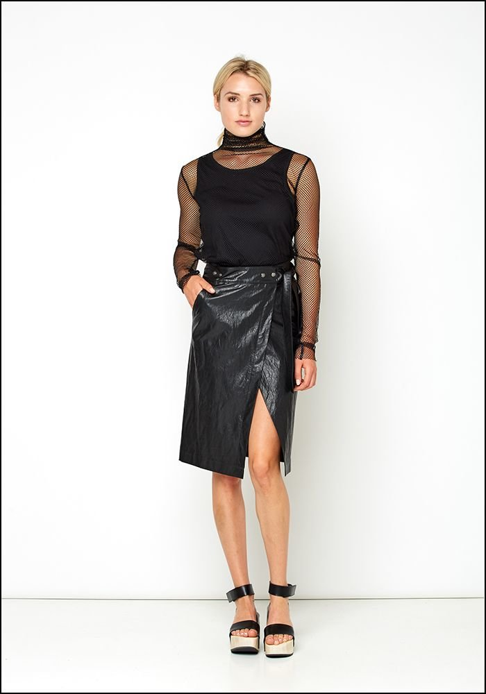 Nude Nude Leather Look Wrap Skirt