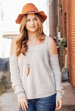 LUXE Shrug Them Off Cold Shoulder Sweater