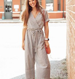 LUXE Off the Rails Striped Jumpsuit