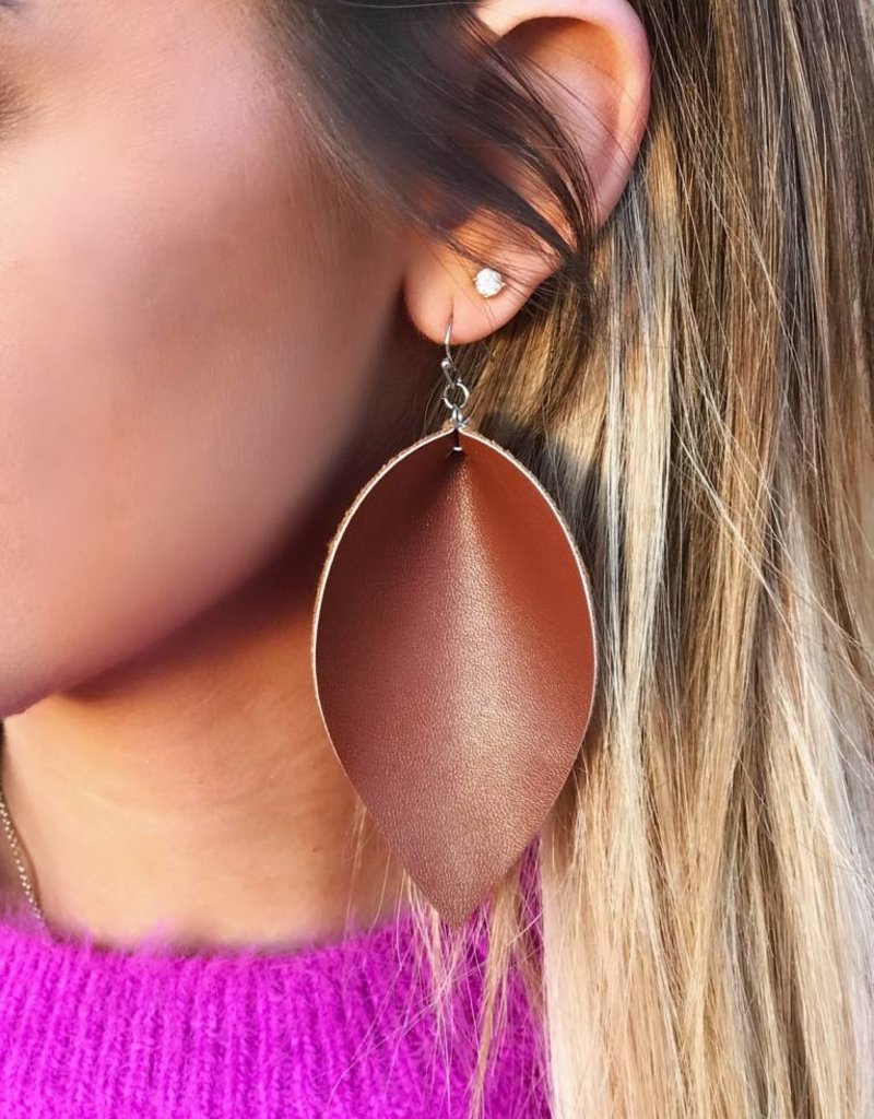 LUXE Simply Radiant Brown Feather Earring