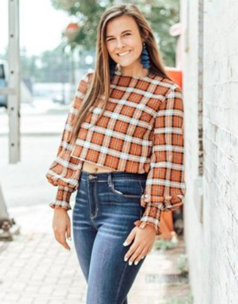 LUXE Charming As Can Be Plaid Top