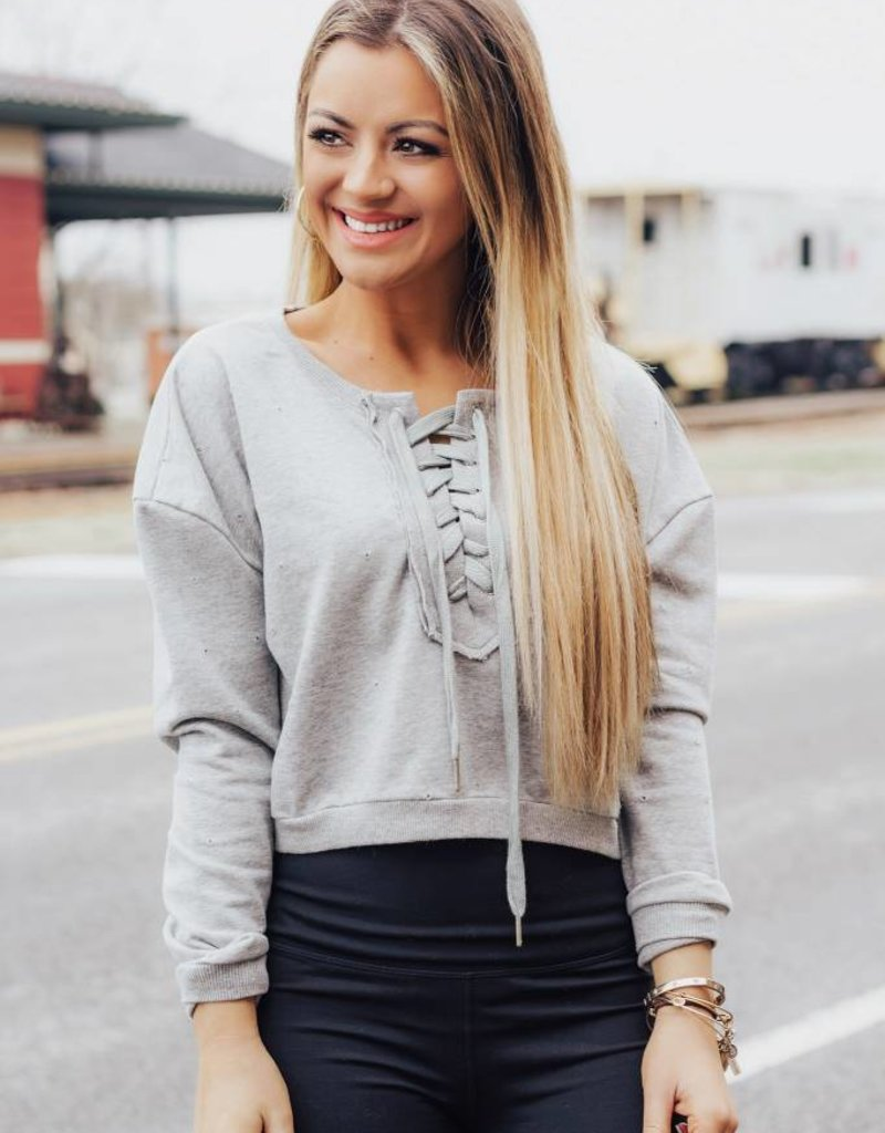 LAYNEE & LEE You're Just My Type Lace-Up Sweatshirt