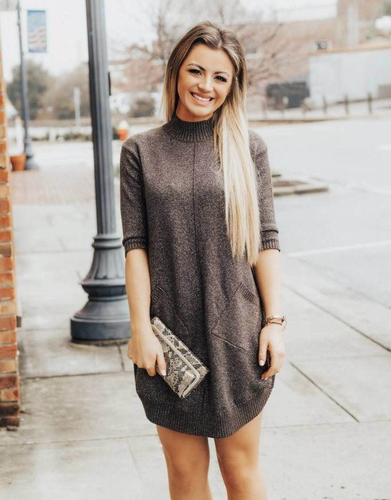 LUXE Something Sparkly Sweater Dress