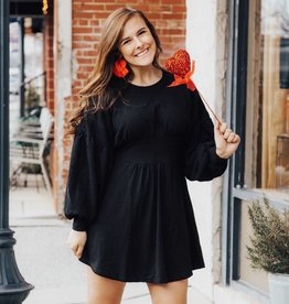 LUXE All Black Everything Long Sleeve Dress