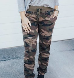 LUXE Crazy for Camo Distressed Jogger