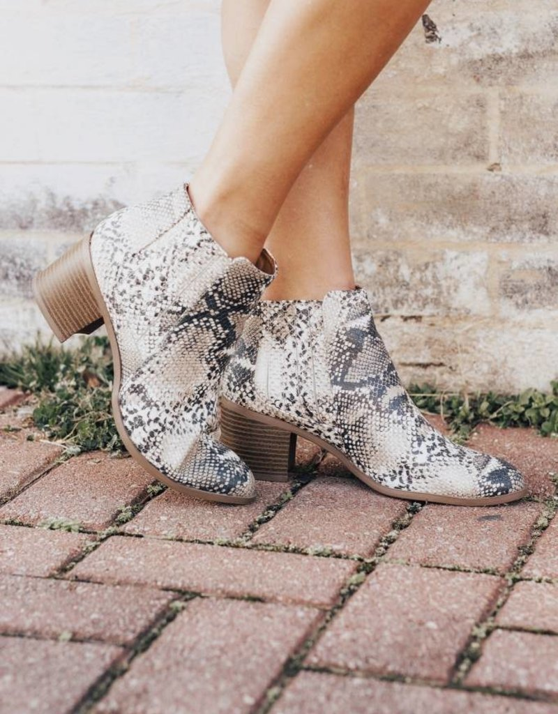 LUXE Shift The Ground Snakeskin Bootie