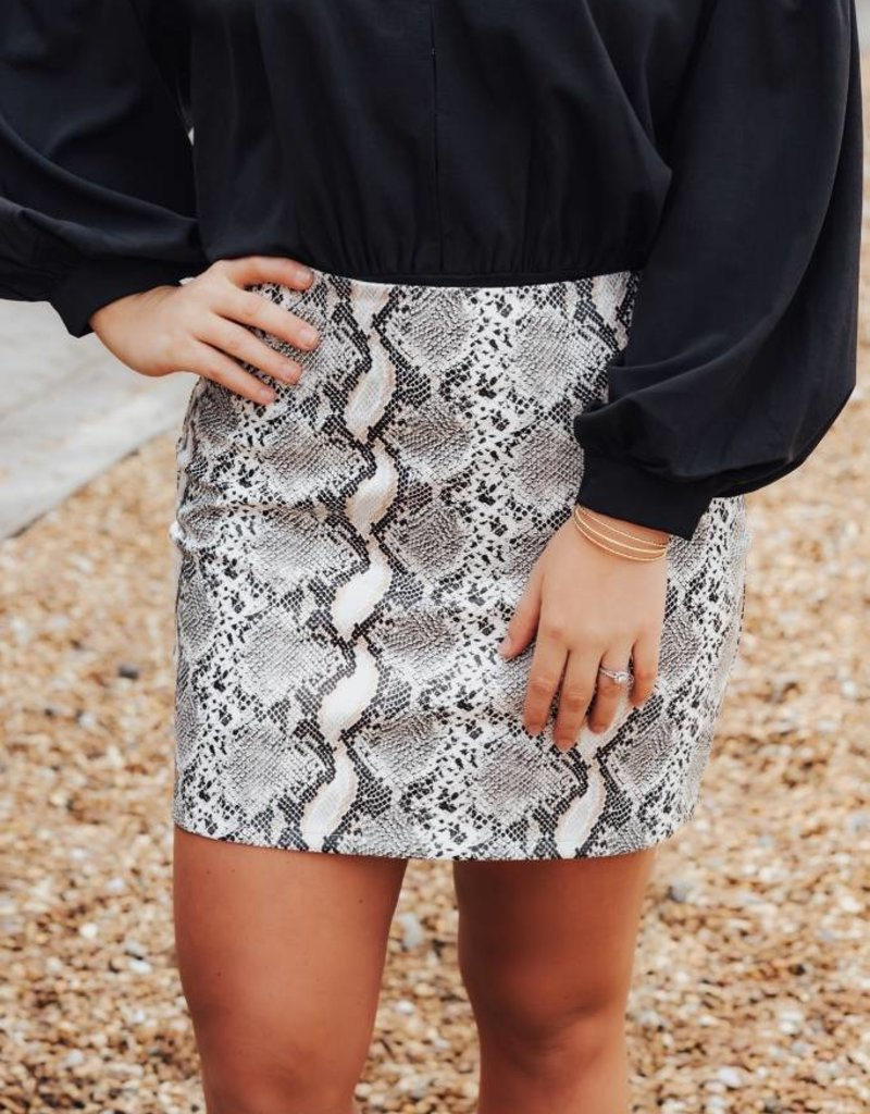 LUXE Have All The Fun Snakeskin Skirt