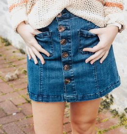LUXE Grant Your Wishes Denim Mini Skirt