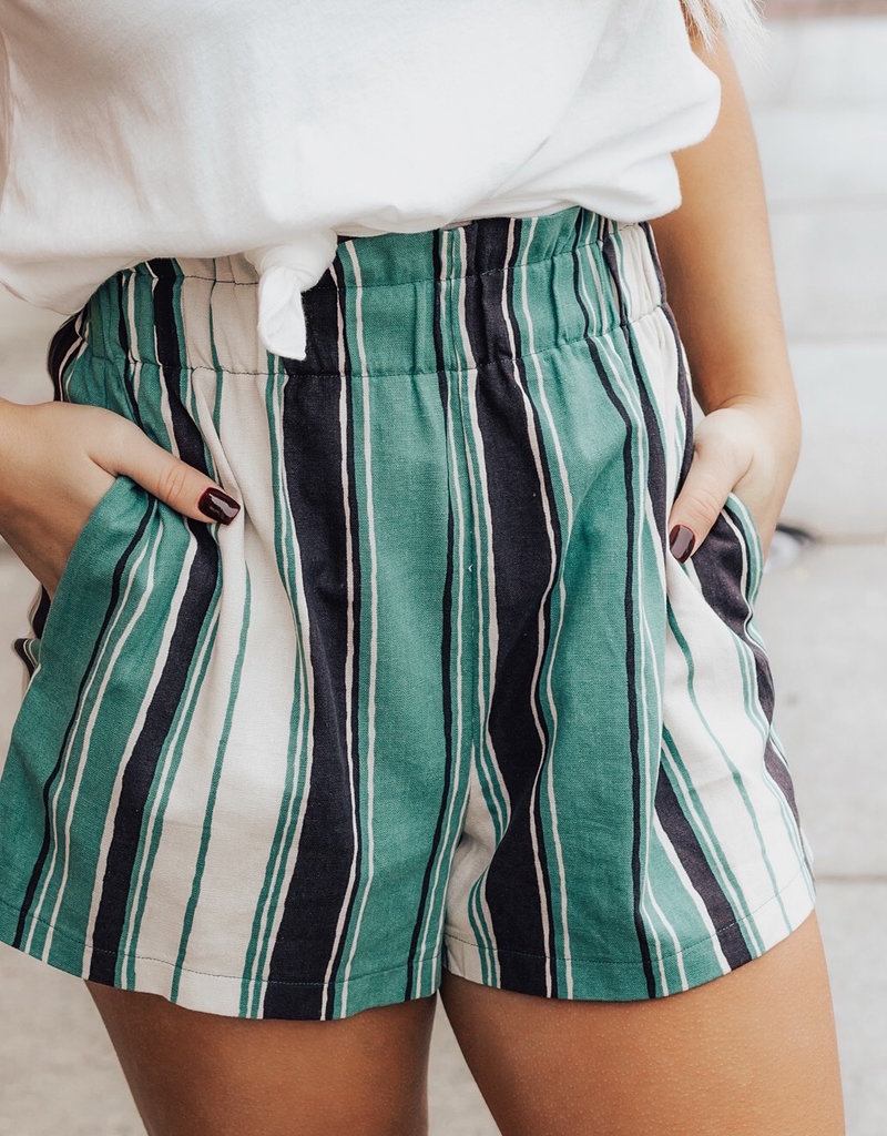 LUXE Say Yes To Happiness Striped Shorts