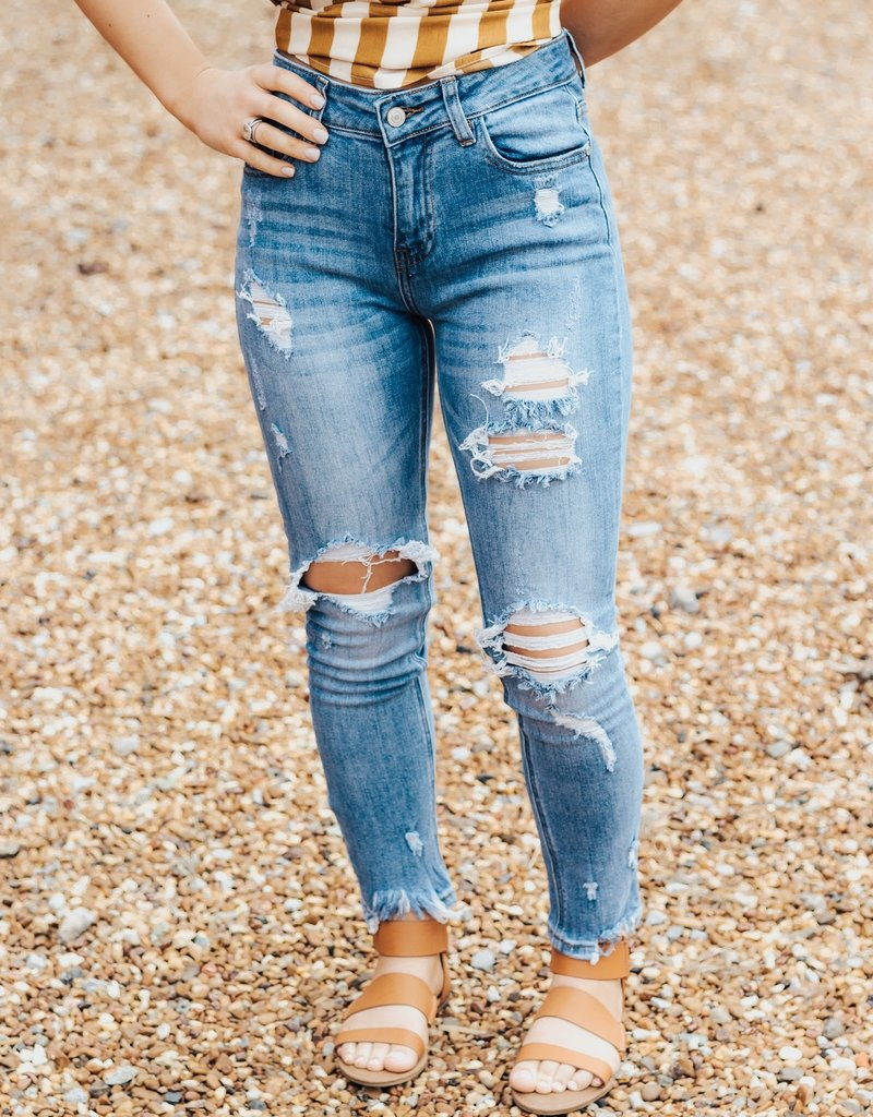 LUXE Living On The Fray High Rise Boyfriend Jean