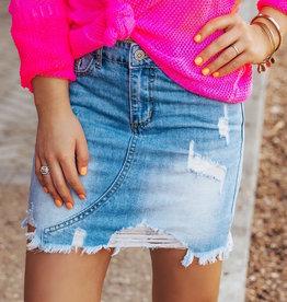 LUXE Finally Found Love Denim Skirt