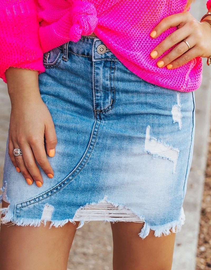 LUXE Finally Found Love Denim Skirt