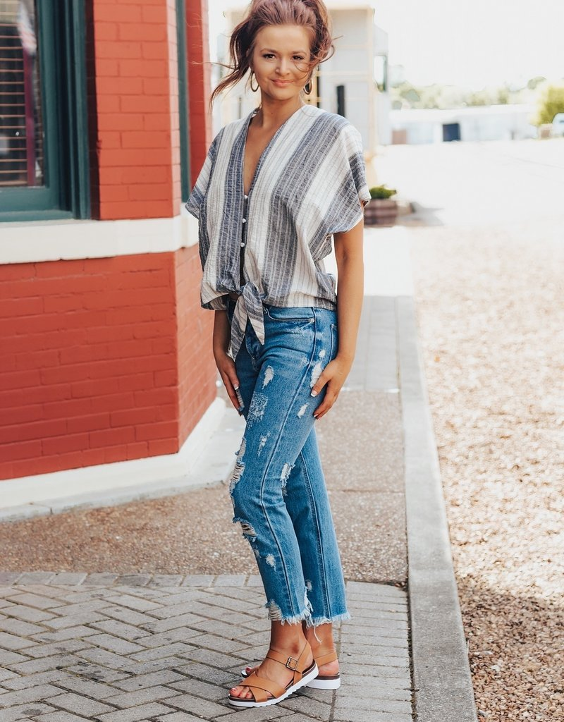 LUXE Always There For Me Striped Blouse