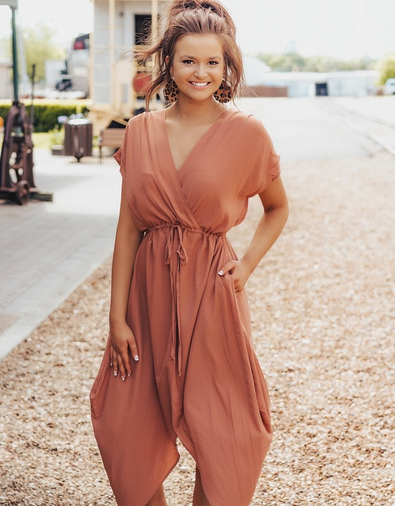 LUXE Escape With Me Tie Front Dress