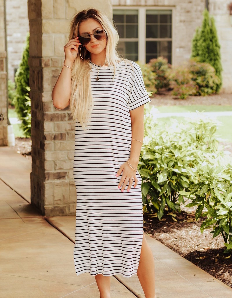 LUXE Blissful Days Striped Midi Dress