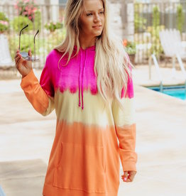 LUXE Perfect Sunset Tie Dye Hoodie Dress