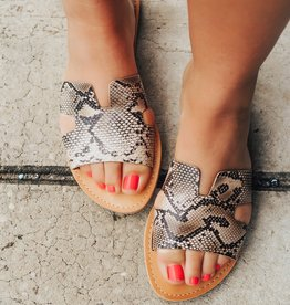 LUXE Simple In Snakeskin Flat Sandals