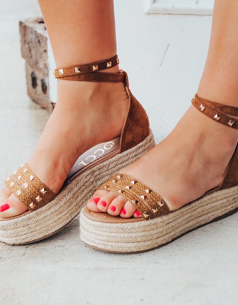 LUXE Into High Gear Studded Espadrille Sandal