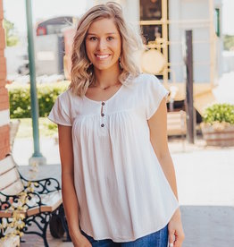 LUXE Never Too Late Button Down Blouse