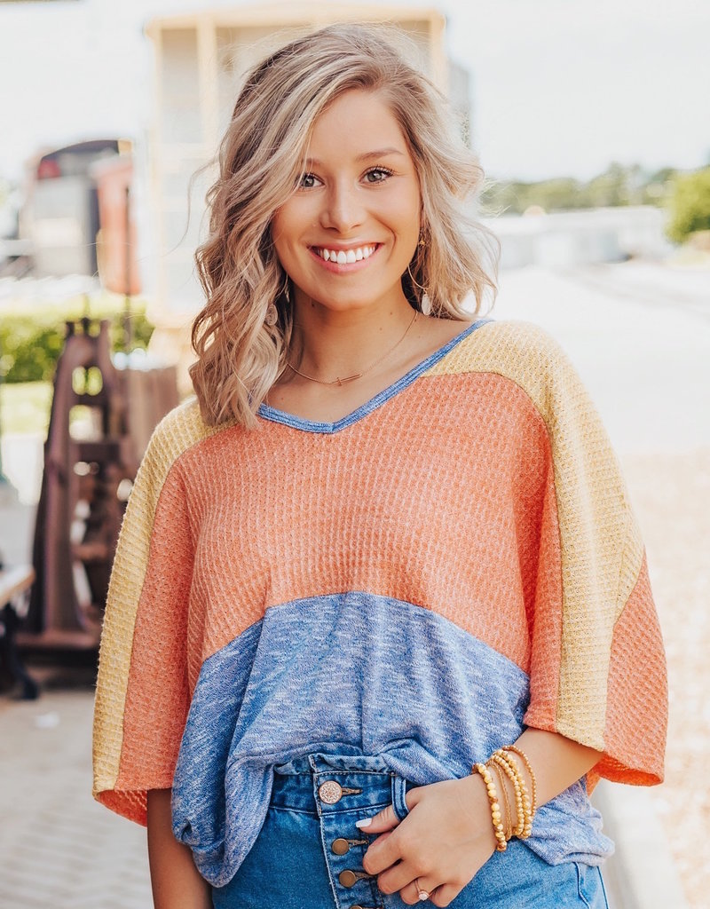LUXE Know You Best Color Block Top