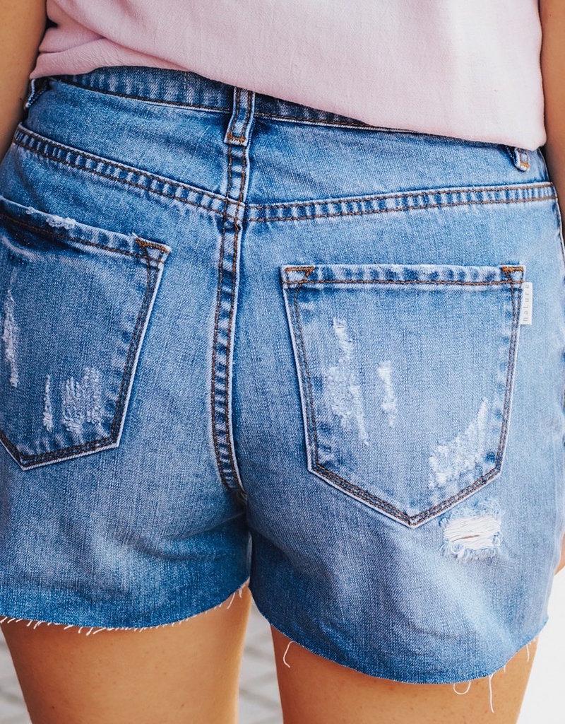LUXE Worn Through Distressed Denim Shorts
