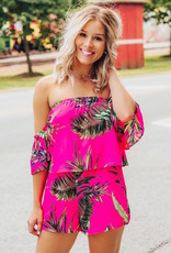 LUXE Tropical Excursion Off-The-Shoulder Romper