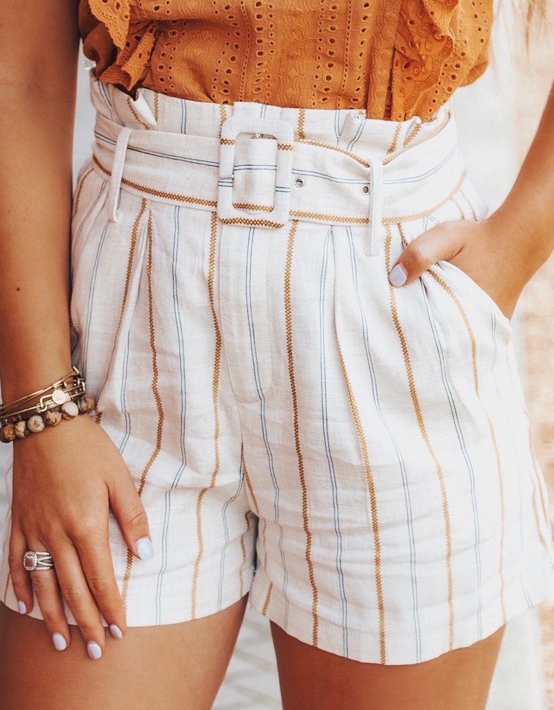 LUXE No Bad Days Striped Shorts
