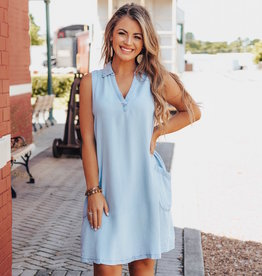 LUXE Chambray All Day T-Shirt Dress