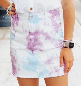 LUXE Social Butterfly Tie-Dye Mini Skirt