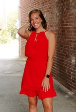 LUXE RUFFLE ME UP RED DRESS