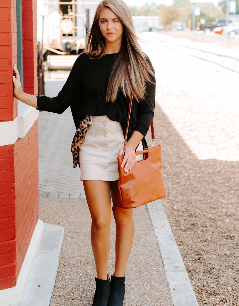 LUXE Grant Your Wishes Beige Skirt
