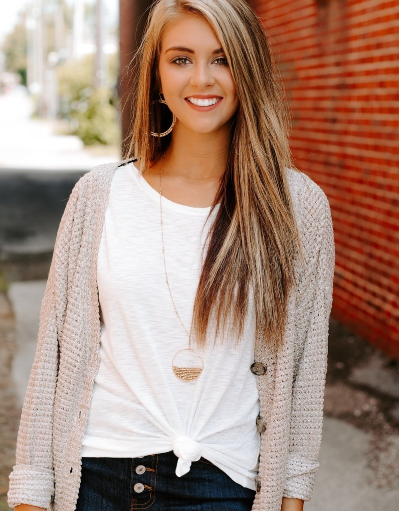 LUXE Love is All Around Sand Cardigan