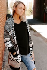 LUXE Committed to Cool Black Aztec Cardigan