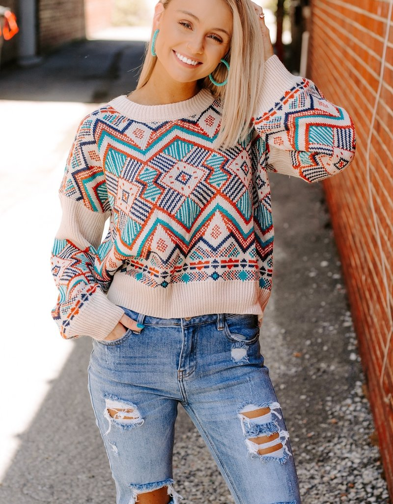 LUXE Crazy About You Aztec Sweater