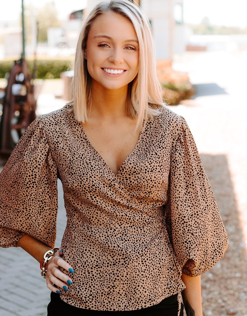 LUXE Until Next Time Animal Print Wrap Top